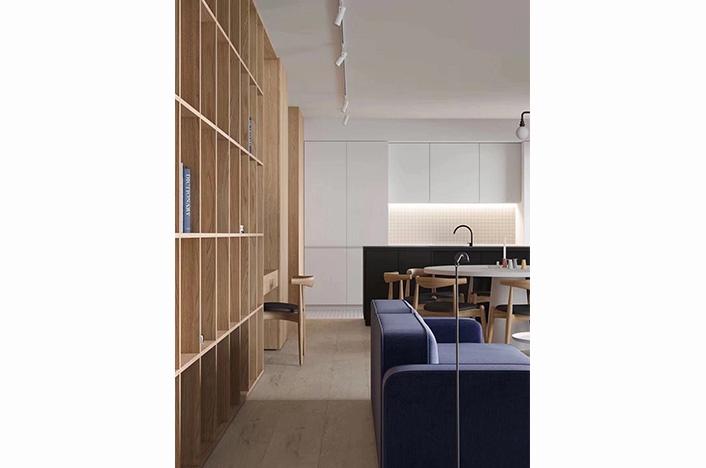 现代极简实木书柜